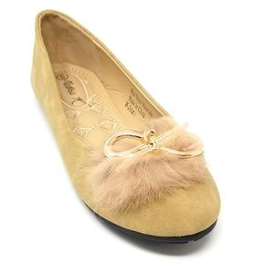 Feather Embellished Bow Flats, B-2641, Beige